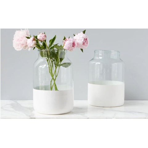 White Colorblock Mason Jar, Medium