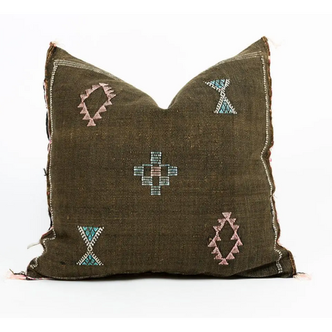Bou Pillow Handmade Moroccan Cactus Silk Pillow