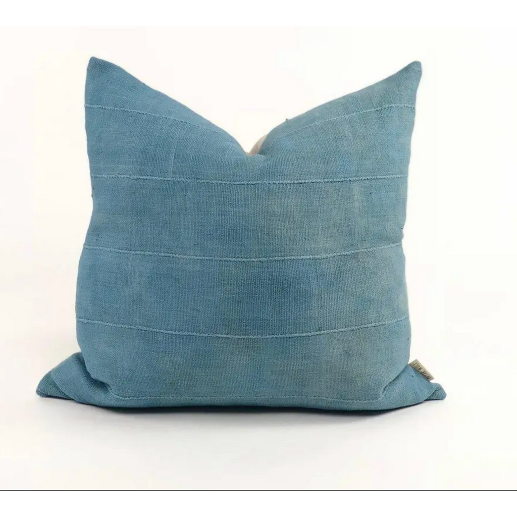 Pampa African Mudcloth Blue Handmade Pillow
