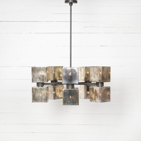 Ava Large Chandelier- Aged Metallic Glass