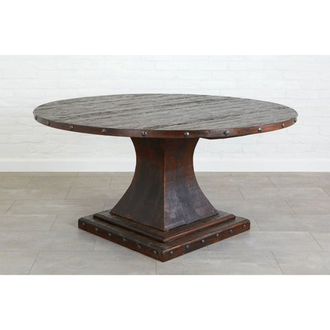 "Camelot Pedestal 48"" Round Table, Saddle"