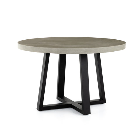 Lava Stone Round Indoor Outdoor Dining Table 47.25""