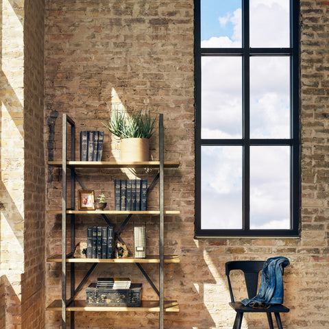 Ebonized Brass Single Bookshelf