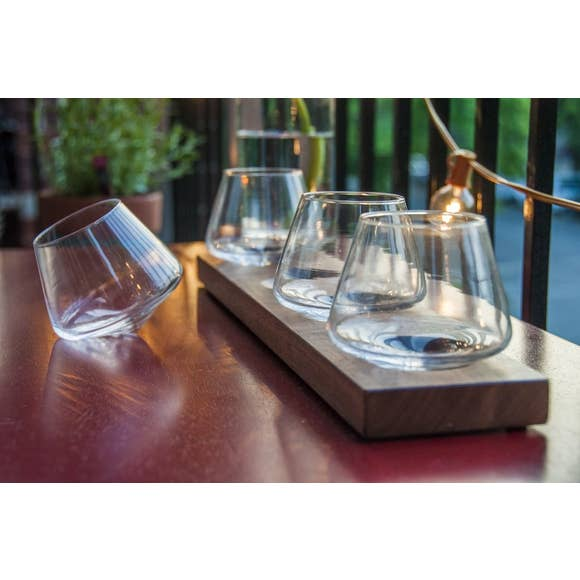 Flight of Hand Blown Glasses on Walnut Stand
