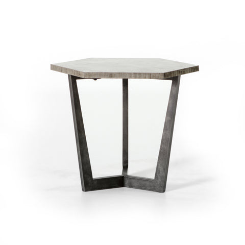 Raw Hexagon End Table