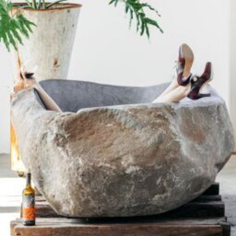 Rustic Dream River Stone Bathtub