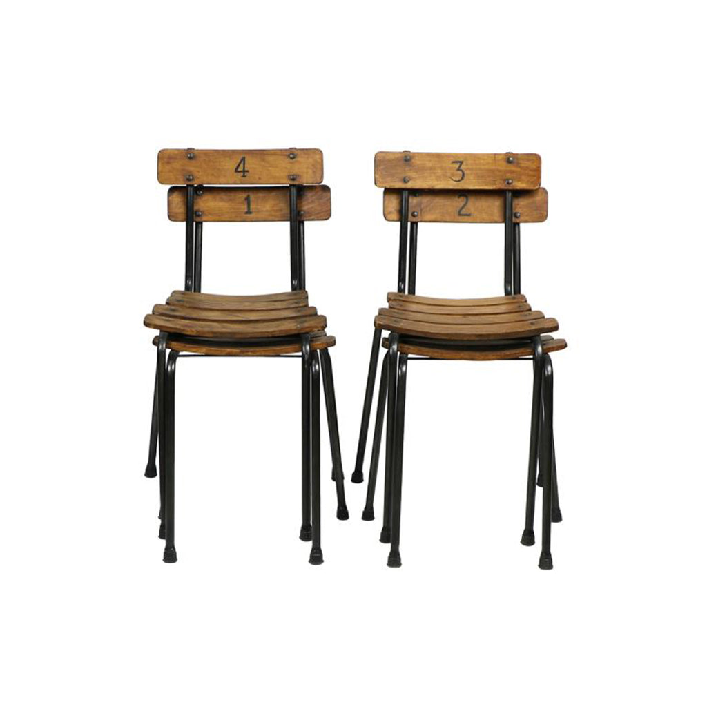 Public School Chairs, Set of 4