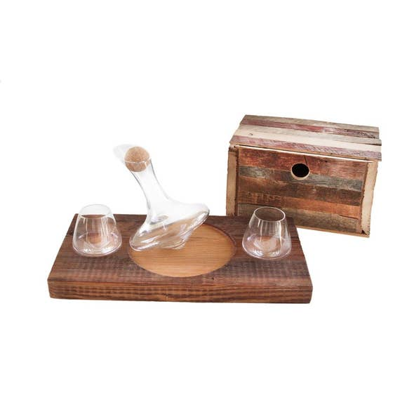 Tad Glasses Decanter with Barn Wood