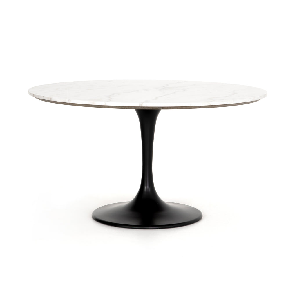 Black Tulip Dining Table in White Marble