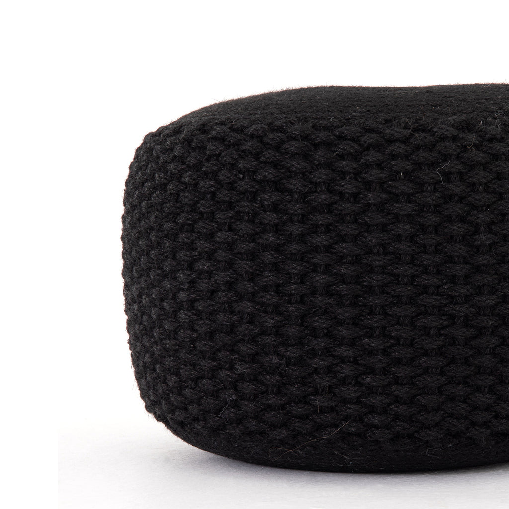 Venture Braided Pouf- Black Jute