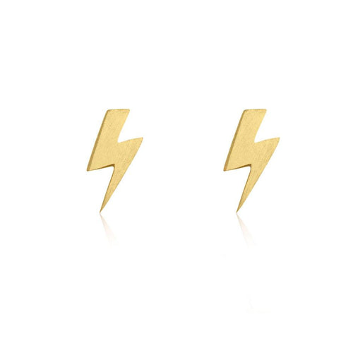 Lightening Bolt Stud Earrings - Gold