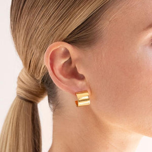 Block Hoop Earrings - Gold