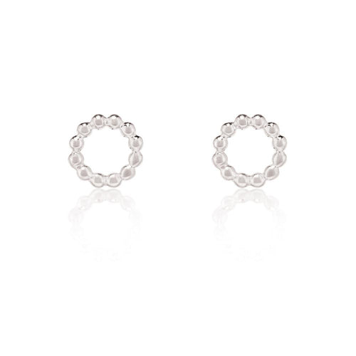 Beaded Circle Stud Earrings - Sterling Silver