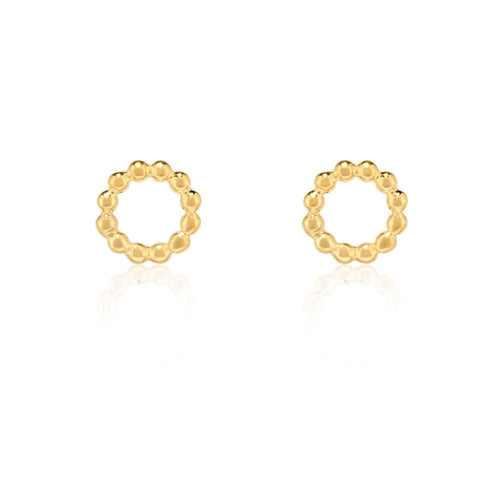 Beaded Circle Stud Earrings - Gold