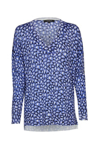Aerial Superfine V Jumper - Cornflower Print
