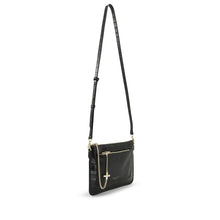 The Margot Croc Shoulder Bag - Black/ Light Gold