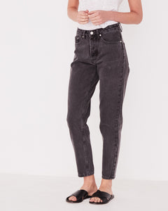 High Waist Rigid Jean - Washed Black