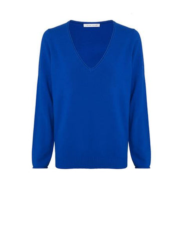 Cast Off Wool/Cashmere V Neck - Cameo Blue