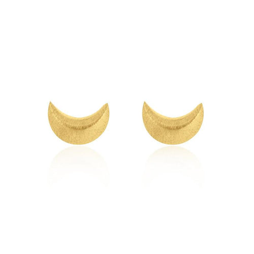 Crescent Moon Stud Earrings - Gold