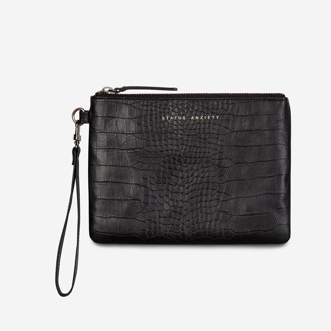 Status Anxiety Fixation Clutch - Black Croc Emboss