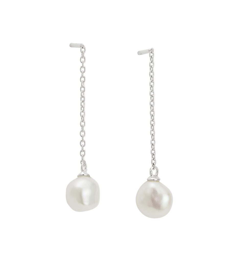 Ocean Pearl Chain Earrings - Silver