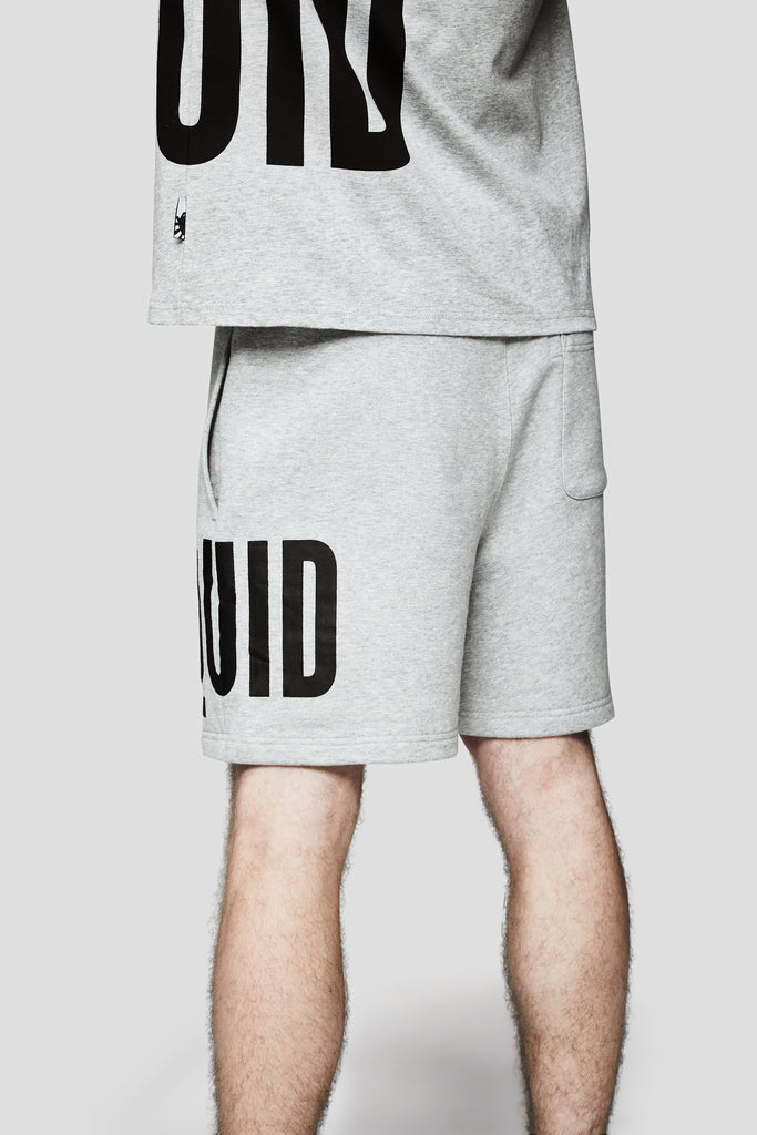 LIQUID OVERSIZED WORDMARK SHORTS - GREY HEATHER - Team Liquid