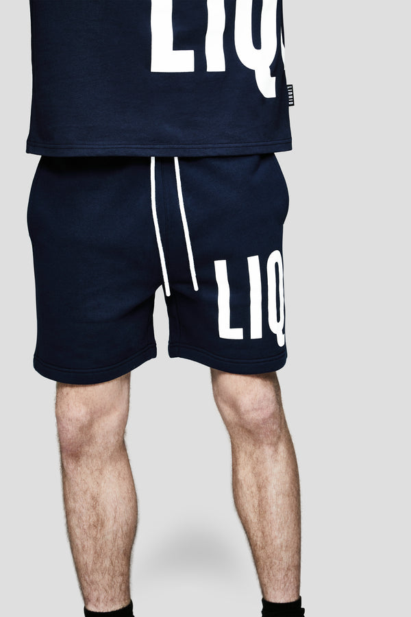 LIQUID OVERSIZED WORDMARK SHORTS - NAVY - Team Liquid