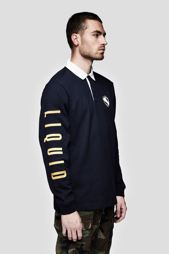 LIQUID VARSITY LONG SLEEVE RUGBY - NAVY - Team Liquid