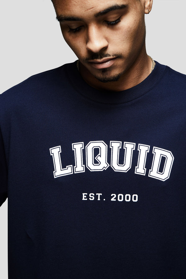 LIQUID VARSITY FONT SHORT SLEEVE TEE - NAVY - Team Liquid