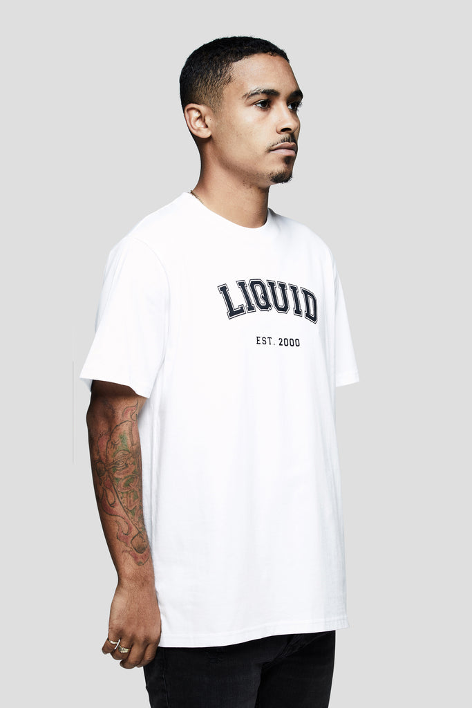 LIQUID VARSITY FONT SHORT SLEEVE TEE - WHITE - Team Liquid
