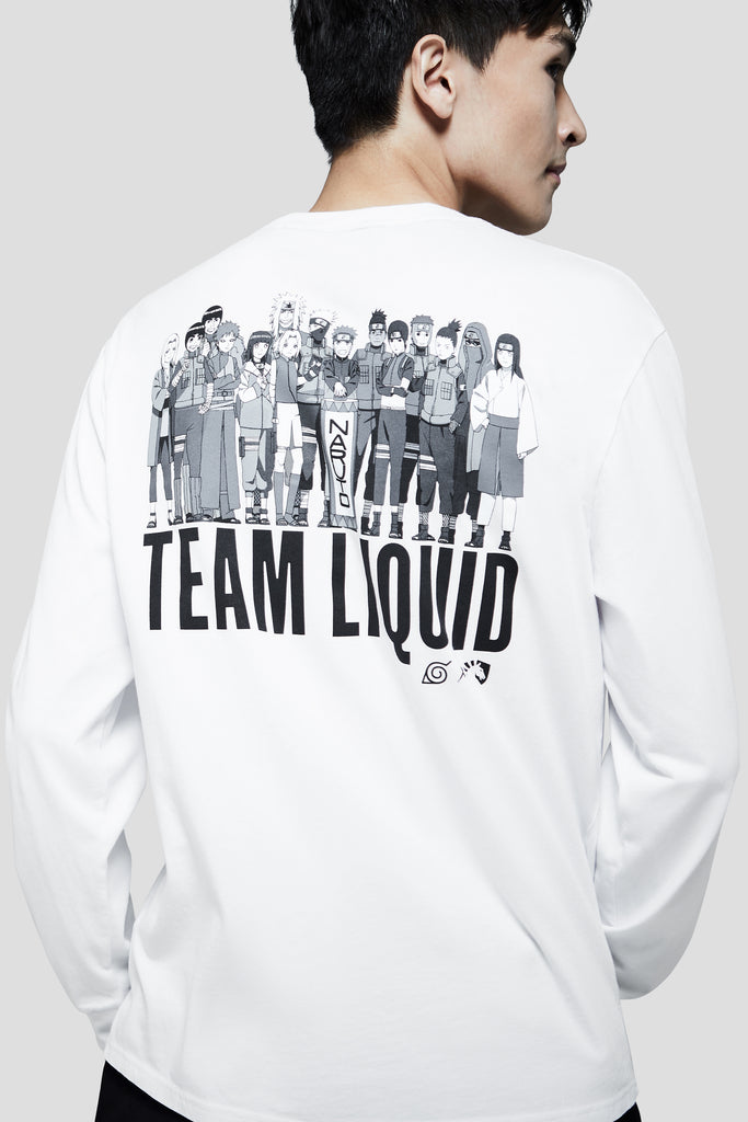 LIQUID x NARUTO LEAF VILLAGE LONG SLEEVE TEE - WHITE (PRE-ORDER) - Team Liquid
