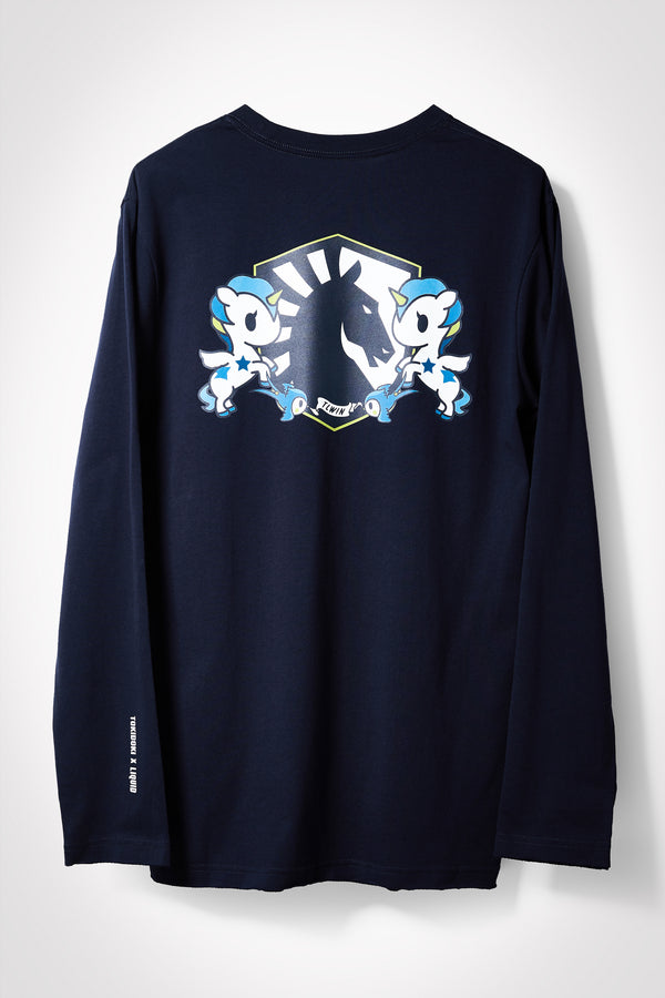 TOKIDOKI x LIQUID CREST LONG SLEEVE TEE - NAVY - Team Liquid