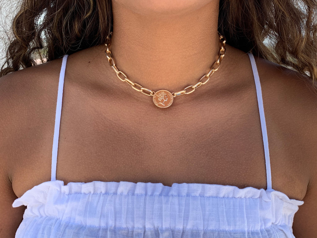european coin chain choker