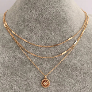 layered nautical compass necklace