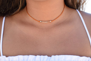 beaded orange choker