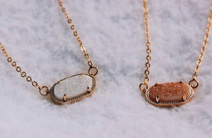 blush pink druzy gemstone necklace