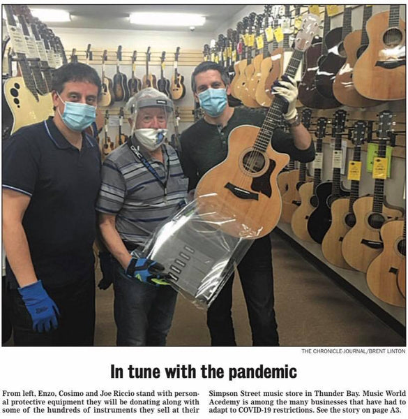 Music World donates 200 face shields to various organizations