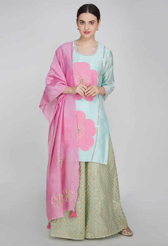 Pink Chanderi Silk Suit- Set of 2
