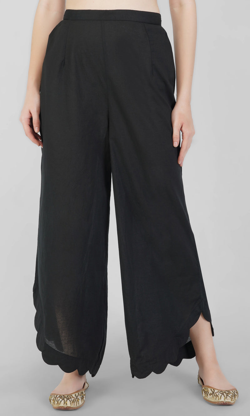 Black Cotton Scalloped Pants
