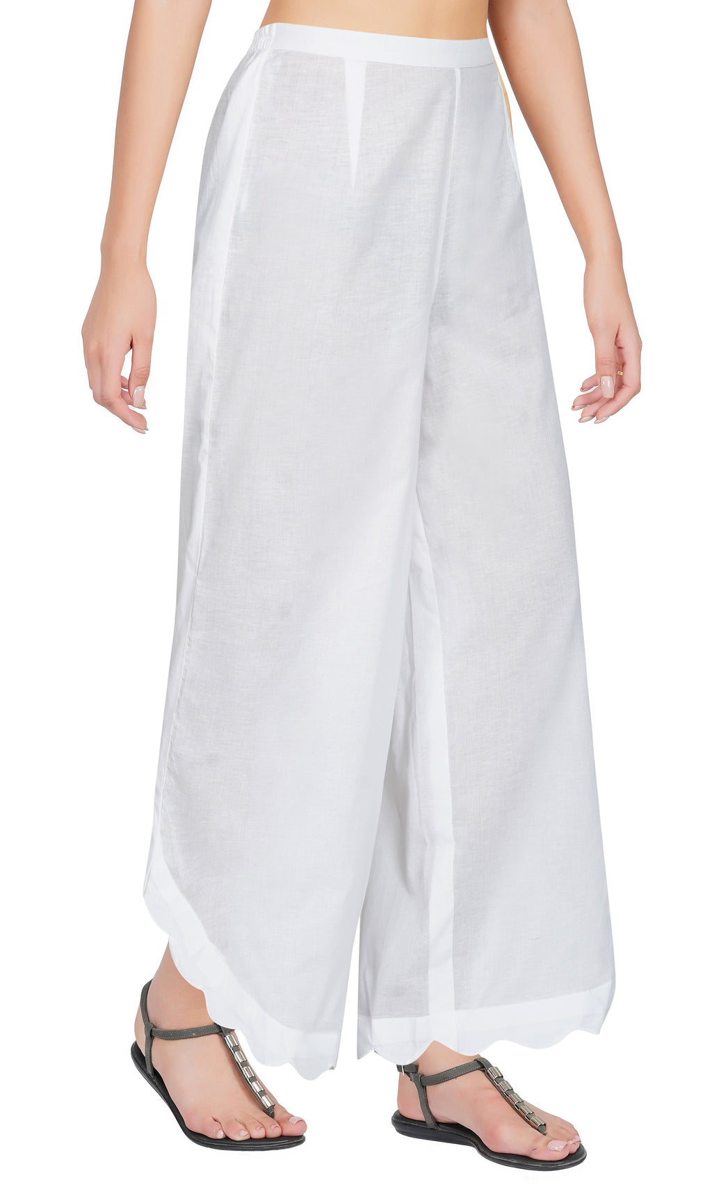 White Side Scalloped Cotton Pants