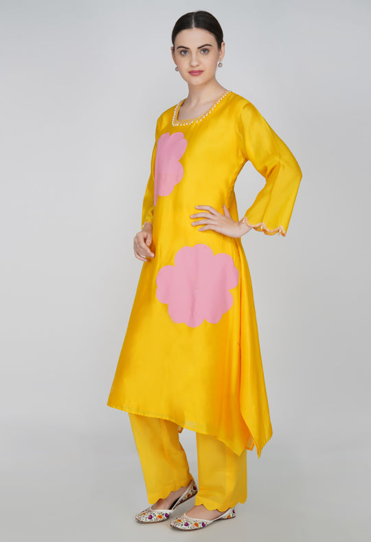 Yellow Chanderi Silk Suit- Set of 3