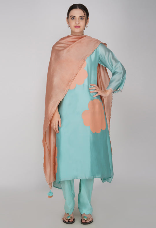 Teal Chanderi Silk Suit- Set of 3