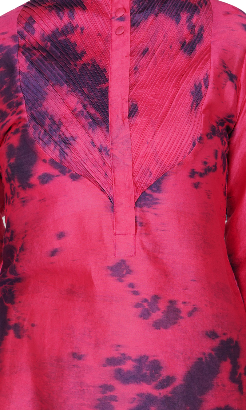 Mahroon Pintucks Marble Dyed Shirt