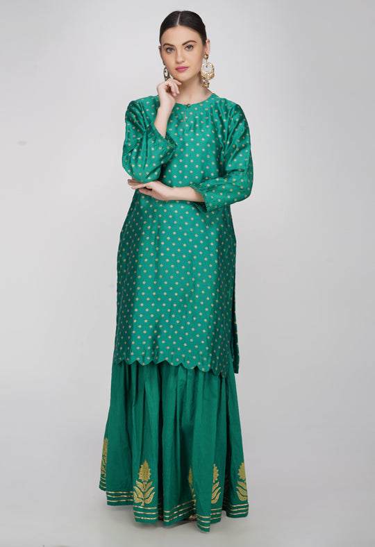 Green Block Printed Chanderi Silk Kurta with Sharara and Dupatta- Set of 3