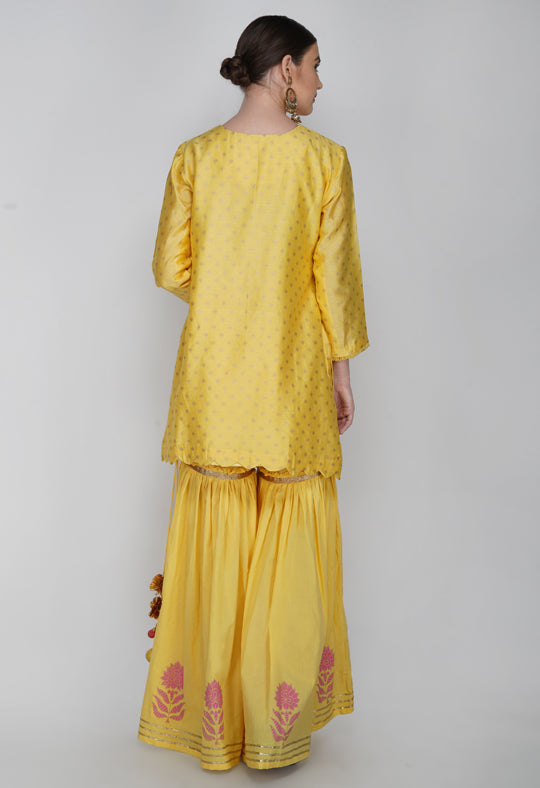 Yellow Block Printed Chanderi Silk Kurta with Sharara - Set of 2
