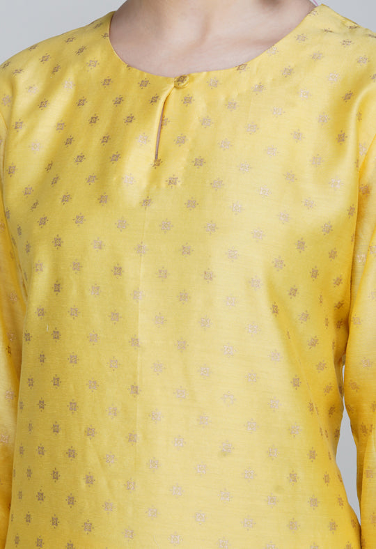 Yellow Block Printed Chanderi Silk Kurta with Sharara and Dupatta- Set of 3