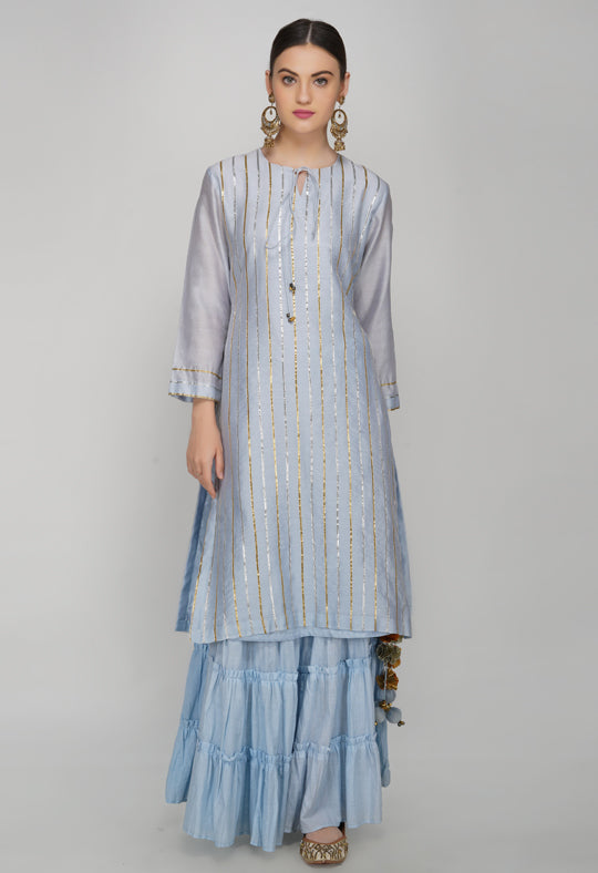 Blue Gota Chanderi Silk Kurta with Sharara - Set of 2