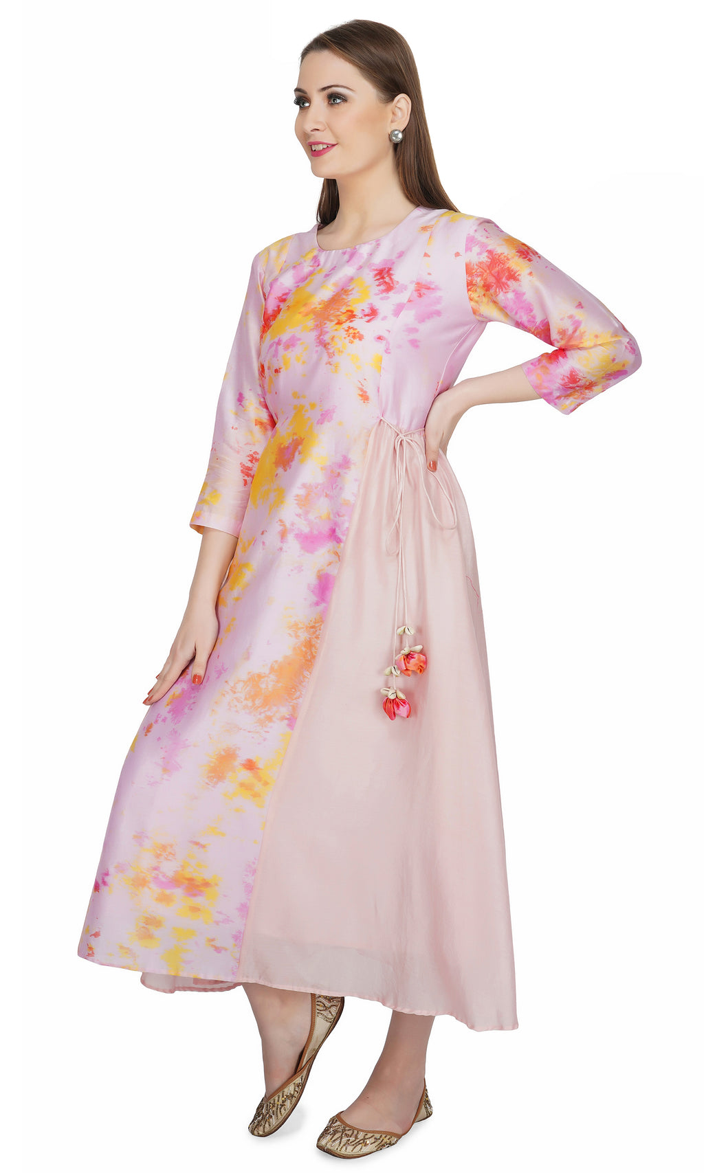Pink Marble Dye Centre Panel Dress
