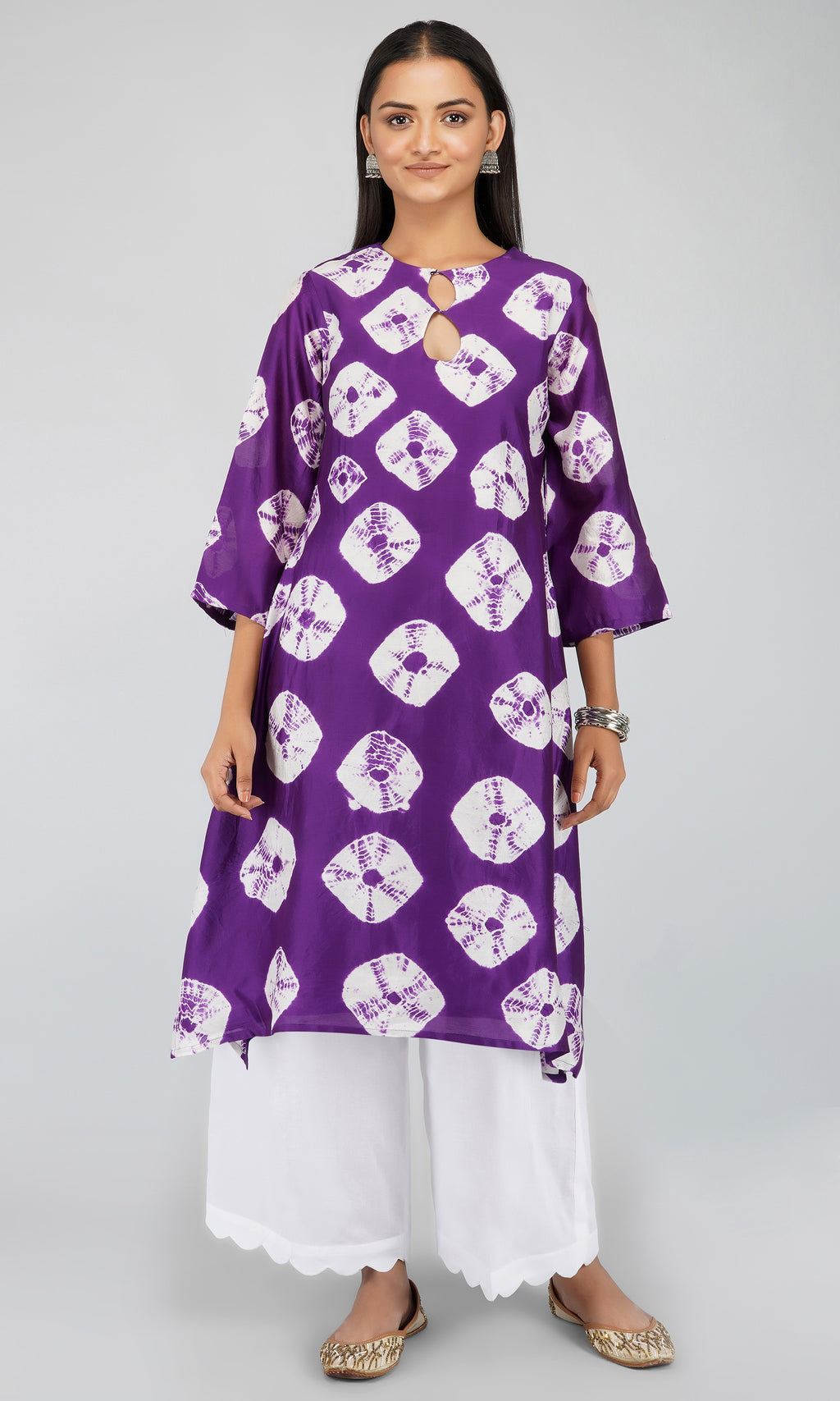 Purple Bandhani Dye Chanderi Silk Kurta with Cotton Pants and Scallop Chanderi Silk Dupatta - Set of 3