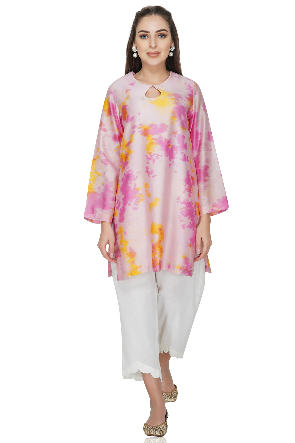 Pink Tie and Dye Chanderi Silk Kurta with White Cotton Pants - Set of 2